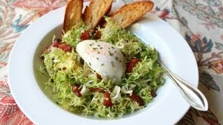 Salad Lyonnaise - Frisee Salad with Shallot Dijon Dressing, Bacon, and Poached Egg