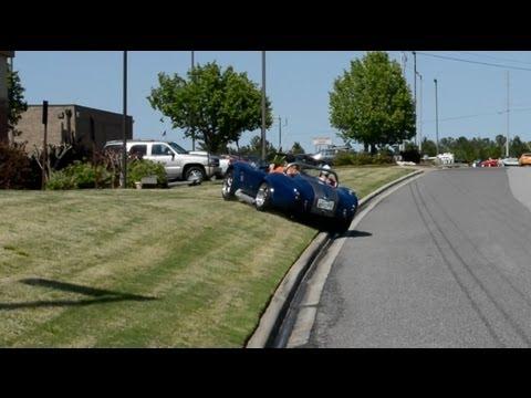 A Shelby Cobra replica crashes after leaving a car show