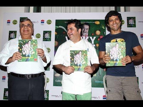 Farhan Akhtar and Ashok P Hinduja Uuveiled Chef Vicky Ratnani's Book Vicky Goes Veg