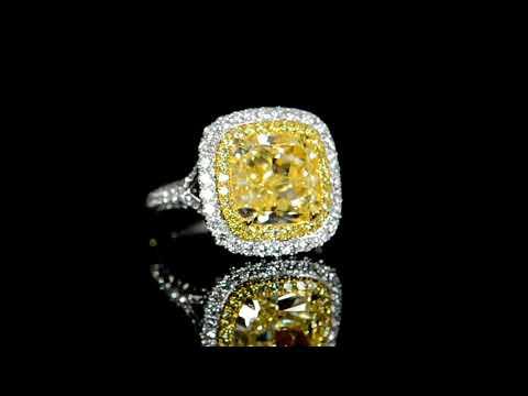 GIA Certified 4.54ct Cushion Cut Fancy Yellow Diamond Ring