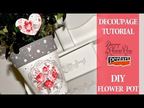decoupage - fantasia di fiori su un vaso
