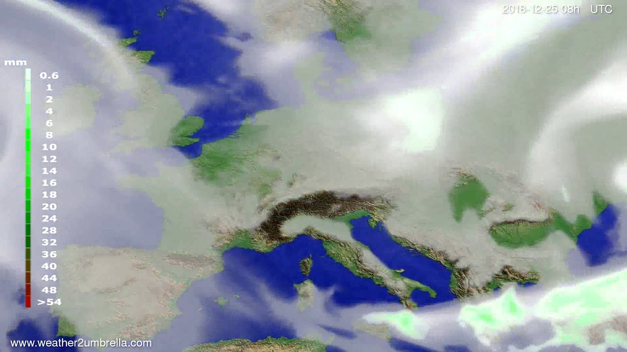 Precipitation forecast Europe 2018-12-22