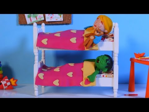 KIDS SLEEPING IN BUNK BEDS ❤ PLAY DOH CARTOONS FOR KIDS