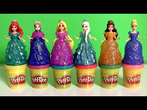 NEW Play Doh Sparkle Princess Ariel Elsa Anna Rapunzel Disney Frozen Glitter Glider Magic Clip Dolls