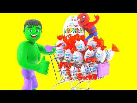 HULK GOES TO THE SUPERMARKET  Spiderman, Hulk & Frozen Elsa Play Doh Cartoons For Kids