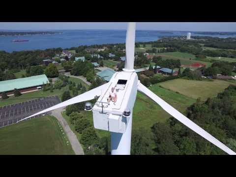 Drone Captures Man Sunbathing on Wind Turbine
