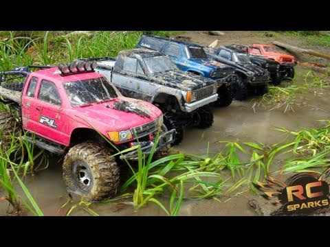 RC ADVENTURES -  6 Scale RC 4x4 Trucks in MUD, DIRT & a Forest! Group Trail Gathering  (GTG)