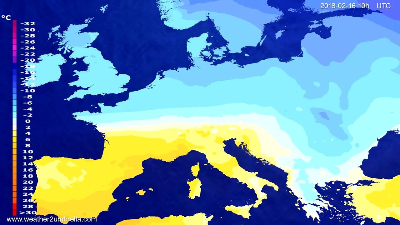 Temperature forecast Europe 2018-02-14
