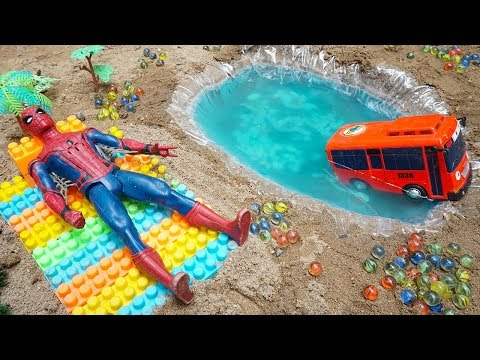 Dump Truck Excavator Working In Construction | Assembly Tayo The Little Bus Spiderman Toys For Kids