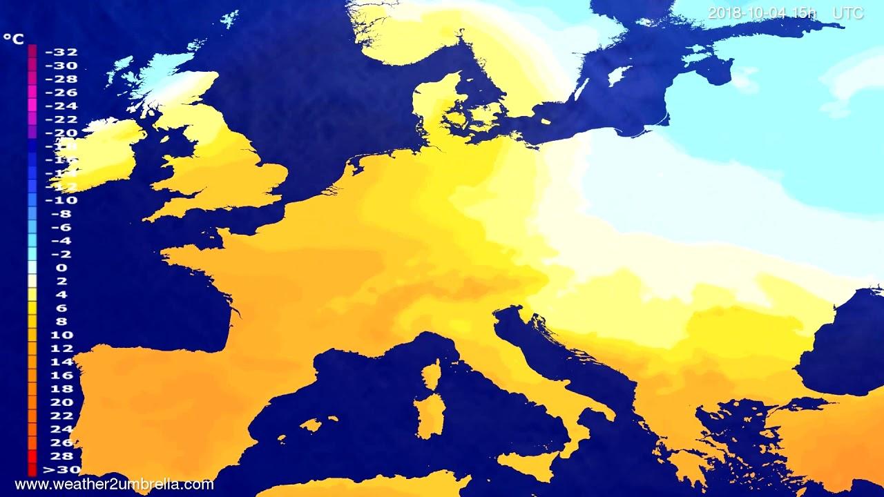 Temperature forecast Europe 2018-10-01
