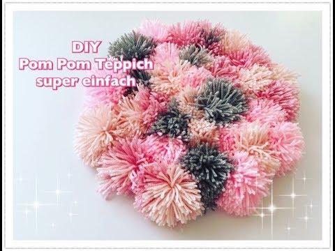 DIY Bommel Teppich nur mit Hilfe der Hände basteln / Pom Pom Teppich super einfach