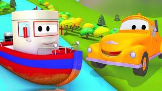 çekici tom ve tekne  araba ve kamyon inşaat çizgi filmi çocuklar için