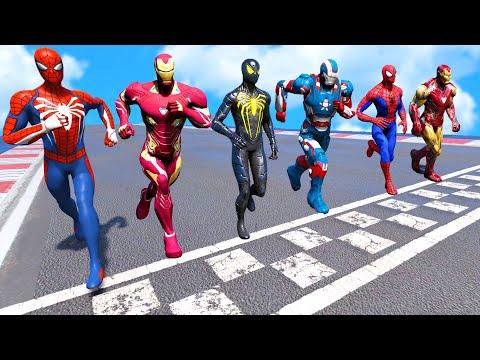 TEAM IRONMAN VS TEAM SPIDER-MAN | Running Challenge #4 (Funny Contest) - GTA V Mods