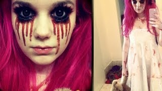 Creepy Little Girl Halloween Makeup Tutorial - YouTube