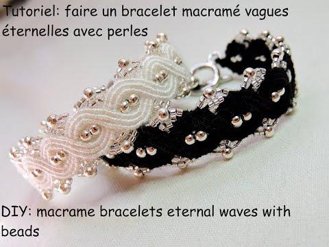 macramè - elegante bracciale con onde infinite e perle