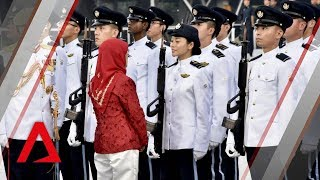 Video NDP 2018: President Halimah Yacob inspects guard of honour MP3, 3GP, MP4, WEBM, AVI, FLV Agustus 2018