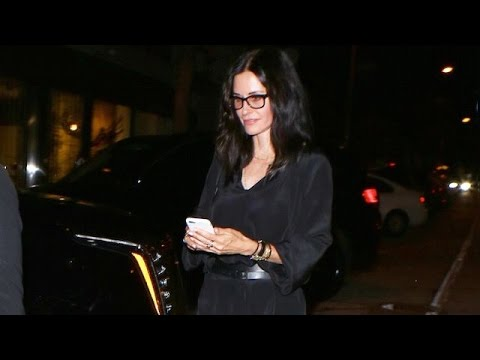Courteney Cox Sexy In Black Leaving Sting's Party