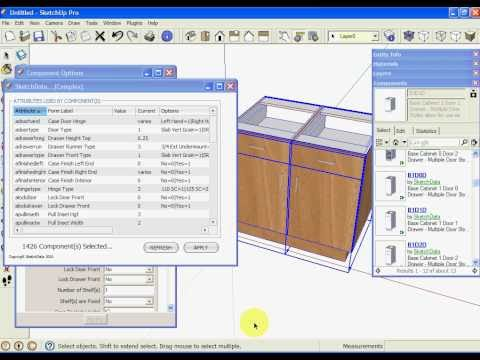 Sketchup kitchen cabinet dynamic component attributes free video and related media mashpedia Kitchen design software google sketchup
