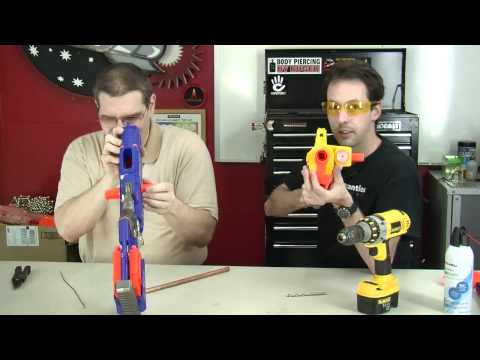 nerf mods - http://www.thegeekgroup.org - Air Restrictor Removal with NO DISASSEMBLY REQUIRED!! Chris and Paul demonstrate how to use less than $5 in parts to perform th...
