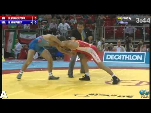 Masoud Esmailpour (IRI) vs Reece Humphrey (USA) 60kg 2013 World Quarters