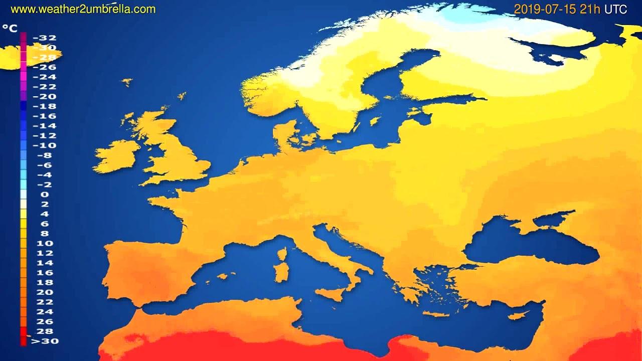 Temperature forecast Europe // modelrun: 12h UTC 2019-07-13