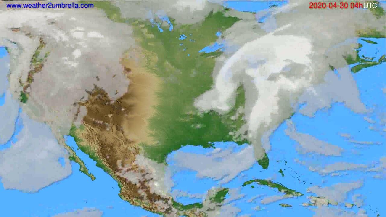 Cloud forecast USA & Canada // modelrun: 12h UTC 2020-04-29