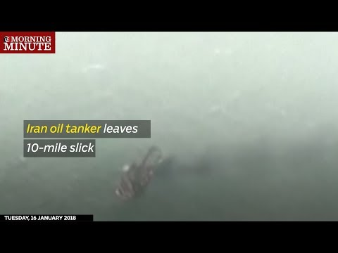 The burning Iranian oil tanker that sank in the East China Sea on Sunday has produced a 10-mile long oil slick