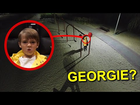 DRONE CATCHES GEORGIE AT HAUNTED PARK!! (IT'S ACTUALLY HIM)
