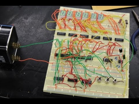 Digital Clock Built Using 7490 Decade Counters and a 555 Timer