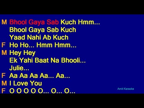 Bhool Gaya Sab Kuch - Kishore Kumar Lata Mangeshkar Duet Hindi Full Karaoke With Lyrics