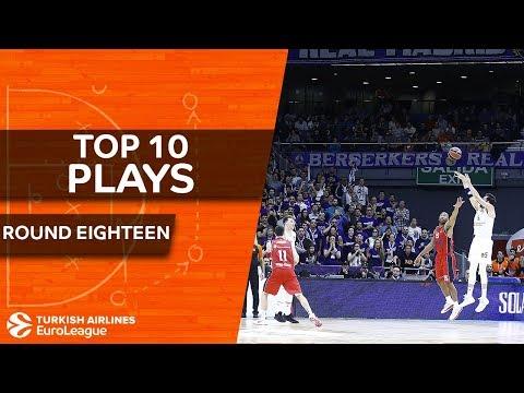 Top 10 Plays  - Turkish Airlines EuroLeague Regular Season Round 18 (видео)