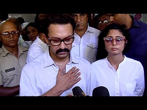 Aamir Khan And Kiran Rao At Reema Lagoo Funeral