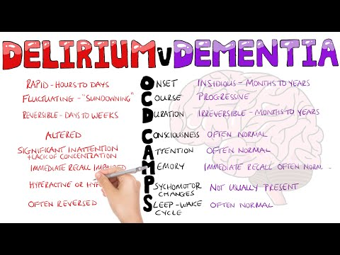 What is the difference between Delirium and Dementia? | Delirium vs Dementia Mnemonic OCD CAMPS