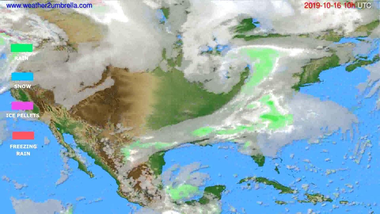 Precipitation forecast USA & Canada // modelrun: 00h UTC 2019-10-14
