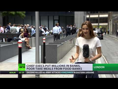UK - In the UK food banks are being used by hard up families more than ever and real terms wages are falling fast for the average worker. But disappearing into the financial distances one group...