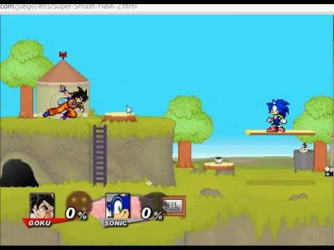 super smash flash 2, transformacion de goku en super sayan