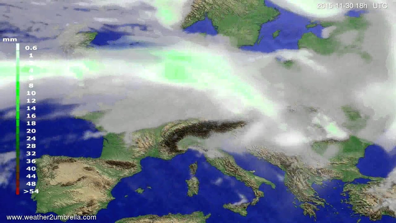 Precipitation forecast Europe 2015-11-27