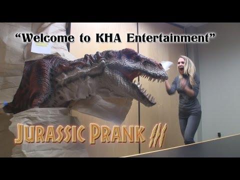 Jurassic Prank 3 Animatronic TRex Terrorizes Auditioning