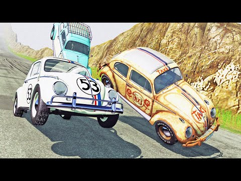 HERBIE EXTREME Downhill Racing And Crashing! Coolest Car Mod Ever! - BeamNG Drive Mods