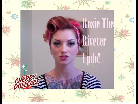 vintage hair - Here I show you how to do a cute updo with a front barrel roll and a bandana-- kind of a rockabilly Rosie the Riveter look. Hope you like it! To buy all of t...