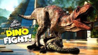Dinosaur Fight! - Building my OWN Jurassic World Park! - Jurassic World Evolution : Part 1