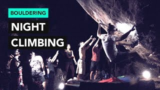 Bouldering at Night can be scary but worth it! by  rockentry