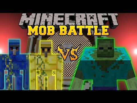 Gold Golem and Lapis Golem Vs. Mutant Zombie - Minecraft Mob Battles - Mutant Creatures Golem World