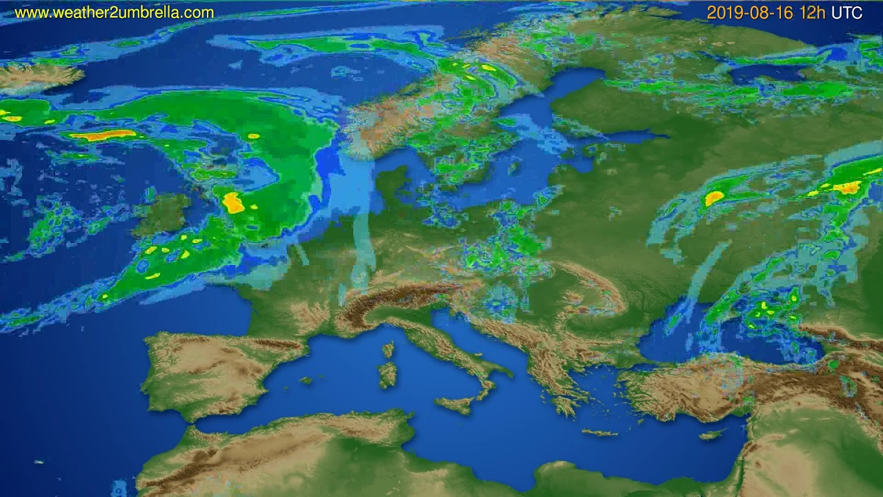 Radar forecast Europe // modelrun: 00h UTC 2019-08-16
