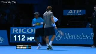Tennis Highlights, Video - David Ferrer Vs Wawrinka Barclays ATP World Tour Finals 2013 Group A 1st Set
