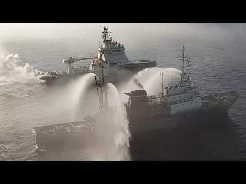 Поисково-спасательное учение кораблей Северного флота в рамках маневров «Восток-2018»