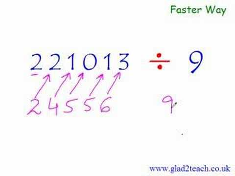 Math - Visit for more http://www.glad2teach.co.uk/fast_maths_calculation_tricks.htm Find hard to divide numbers. In 3 mins master long division with 9 . Easy multip...