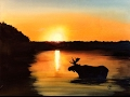 Watercolor Moose in a Lake Painting Demonstration