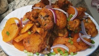 Oven Roasted Chicken Drumsticks and Baked Potato in Easy Steps in Indian Punjabi Style. Ingredients: 8= lbs. Chicken Drumsticks 3= lbs. Potatoes 1= Tbsp. Cor...