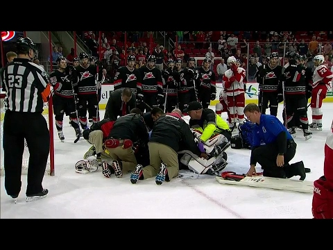 Lack stretchered off after giving up OT winner to Red Wings